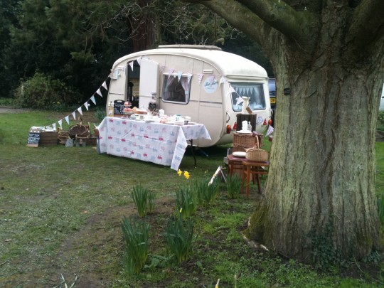 The delightful Quex gardens provided the perfect spot for Bessie to nestle amongst the trees for the day at the Quex Vintage Fair.  Despite a snowy start customers ventured outside for vintage buys and a warming cuppa in Bessie