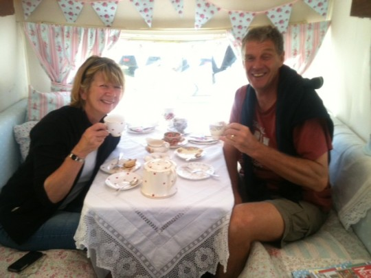 What a delightful couple having tea in Bessie at the British Family Fayre - look out for her story in Essential mag soon!  She is an inspiration.