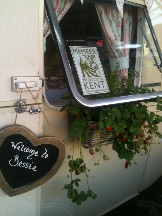 Wingham Country Market made up a lovely window box filled with strawberries, Rosemary and Mint