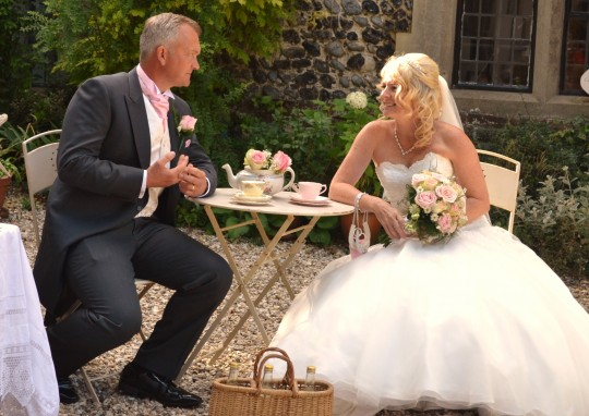The lovely couple, Philippa and Lee, enjoy a quick sit down
