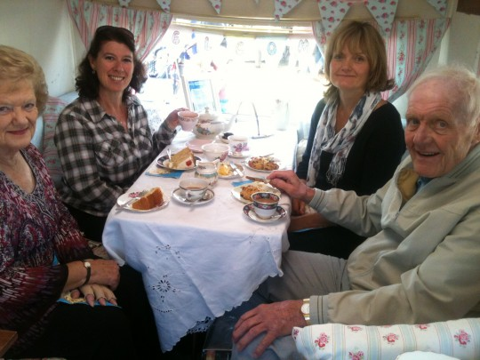 Great to meet Twitter friends for tea at the Festival