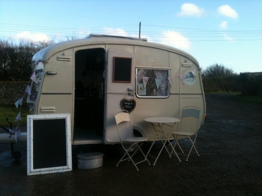 Bessie all set up by the barn ready to surprise the Hens