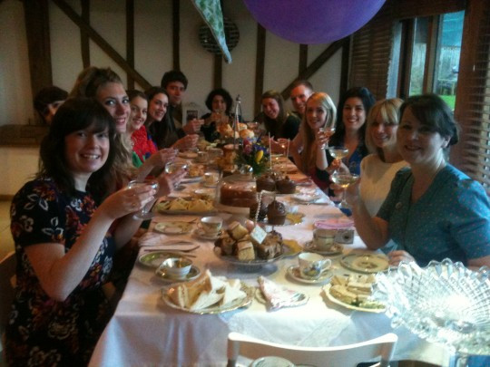 Afternoon tea for some lovely hens. Bunting, china, linen, finger sandwiches and homemade cake