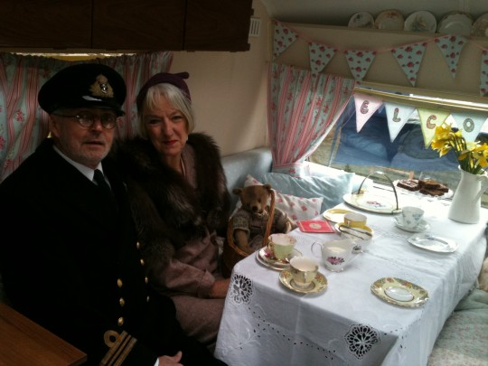 I say, that's how to arrive at a vintage fair.  I met some lovely people at Haguelands Vintage Festival and served tea and cake for many hours