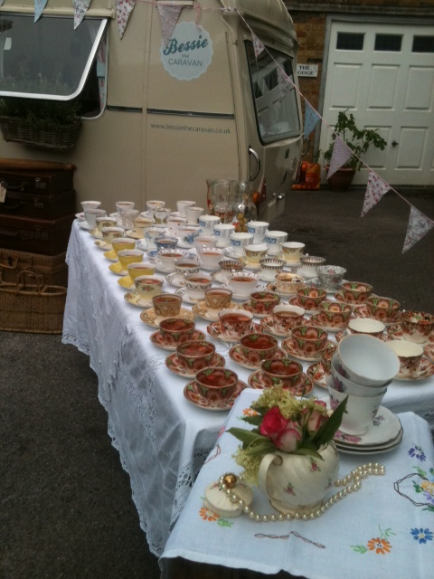 The china is filled with iced Pimm's ready for the guests