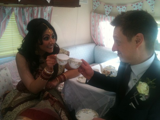 The lovely couple toast to each other in Bessie - cheers!  Let the celebrations begin
