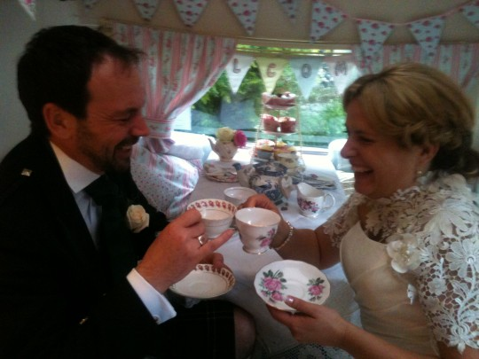 The Bride and Groom enjoy a chuckle together in Bessie